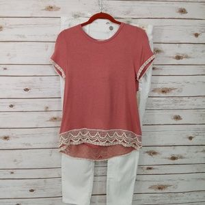 Rewind Rose Color lace Short Sleeve Shirt  M  NWT